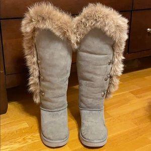 Australia Luxe Nordic Angel gray fur boots